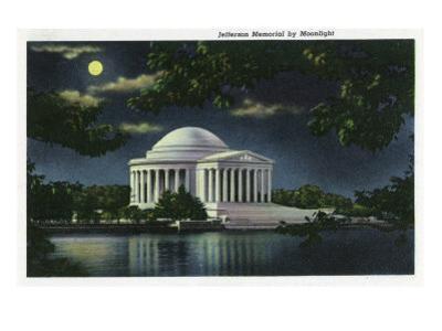 Washington DC, Exterior View of the Jefferson Memorial at Night