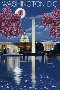 Washington, DC - Night Scene by Lantern Press