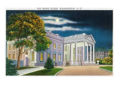 Washington DC, View of the White House Side at Night
