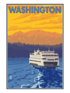 Washington - Ferry and Mountains by Lantern Press