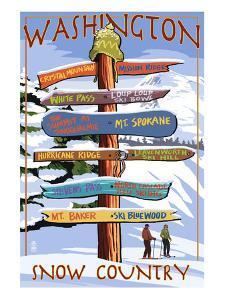 Washington - Snow Country Sign Destinations by Lantern Press