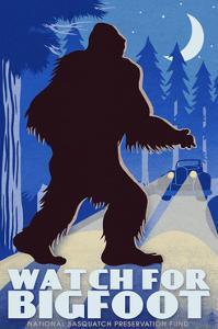 Watch for Bigfoot - WPA Style by Lantern Press