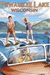 Water Skiers - Pewaukee Lake, Wisconsin by Lantern Press