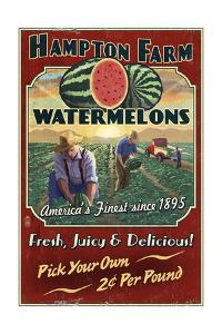 Watermelon Farm - Vintage Sign by Lantern Press
