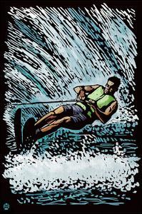 Waterskier - Scratchboard by Lantern Press