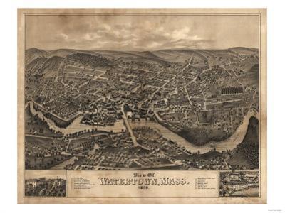 Watertown, Massachusetts - Panoramic Map by Lantern Press