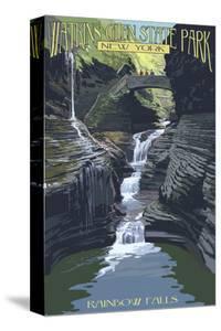 Watkins Glen State Park, New York - Rainbow Falls by Lantern Press