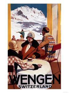 Wengen, Switzerland - The Downhill Club Promotional Poster by Lantern Press