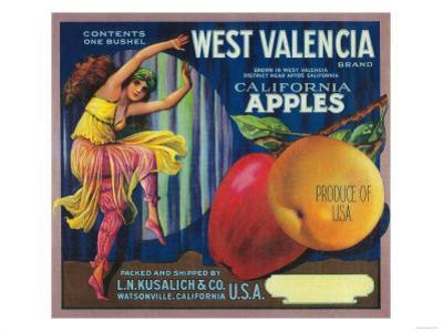 West Valencia Apple Crate Label - Watsonville, CA by Lantern Press