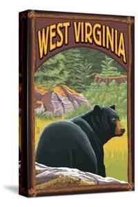 West Virginia - Black Bear in Forest by Lantern Press
