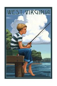 West Virginia - Boy Fishing by Lantern Press