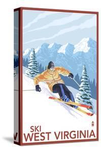 West Virginia - Downhill Skier Scene by Lantern Press