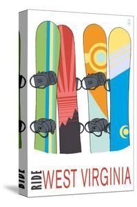West Virginia - Snowboards in Snow by Lantern Press