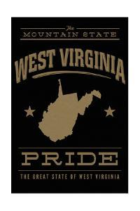 West Virginia State Pride - Gold on Black by Lantern Press