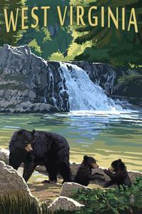 West Virginia - Waterfall and Bears by Lantern Press