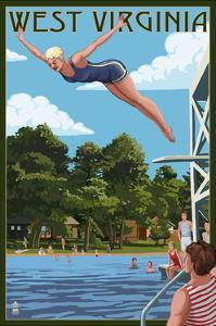 West Virginia - Woman Diving and Lake by Lantern Press
