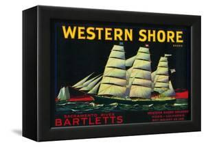 Western Shore Pear Crate Label - Hood, CA by Lantern Press