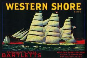 Western Shore Pear Crate Label - Hood, CA by Lantern Press