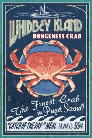 Whidbey Island, Washington - Dungeness Crab Vintage Sign