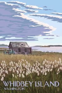 Whidbey Island, Washington - Farm and Ferry Scene by Lantern Press