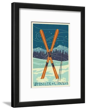 Whistler, Canada - Crossed Skis - Letterpress