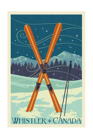 Whistler, Canada - Crossed Skis - Letterpress by Lantern Press