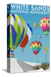 White Sands National Monument, New Mexico - Hot Air Balloons by Lantern Press