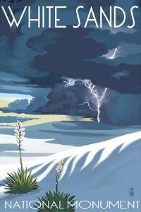 White Sands National Monument, New Mexico - Lightning Storm by Lantern Press