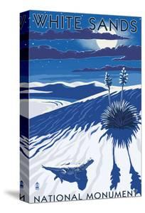 White Sands National Monument, New Mexico - Night Scene by Lantern Press