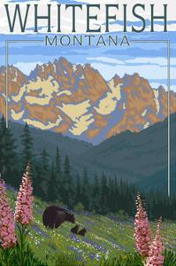 Whitefish, Montana - Bear and Spring Flowers by Lantern Press
