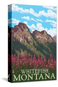 Whitefish, Montana - Fireweed and Mountains by Lantern Press