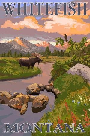 Whitefish, Montana - Moose and Meadow by Lantern Press