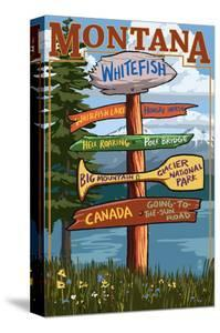 Whitefish, Montana - Sign Destinations by Lantern Press