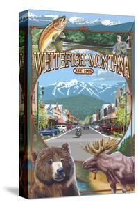 Whitefish, Montana Town Views by Lantern Press
