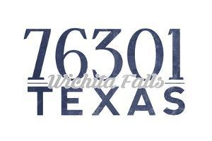 Wichita Falls, Texas - 76301 Zip Code (Blue) by Lantern Press