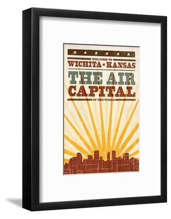 Wichita, Kansas- Skyline and Sunburst Screenprint Style
