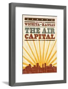 Wichita, Kansas- Skyline and Sunburst Screenprint Style by Lantern Press