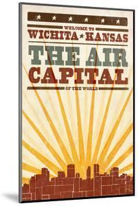 Wichita, Kansas- Skyline and Sunburst Screenprint Style by Lantern Press
