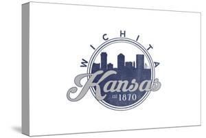Wichita, Kansas - Skyline Seal (Blue) by Lantern Press