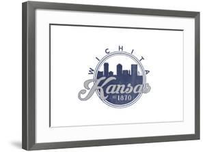 Wichita, Kansas - Skyline Seal (Blue) by Lantern Press