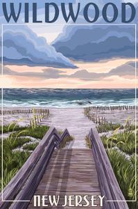 Wildwood, New Jersey - Beach Boardwalk Scene by Lantern Press