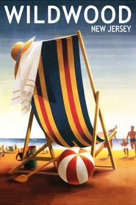 Wildwood, New Jersey - Beach Chair and Ball by Lantern Press