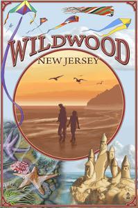 Wildwood, New Jersey - Beach Montage by Lantern Press