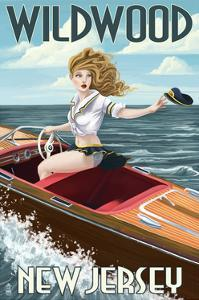 Wildwood, New Jersey - Boating Pinup Girl by Lantern Press