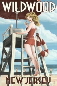 Wildwood, New Jersey - Lifeguard Pinup Girl by Lantern Press