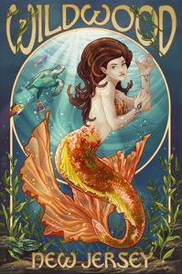 Wildwood, New Jersey - Mermaid by Lantern Press