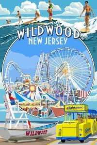 Wildwood, New Jersey - Montage by Lantern Press
