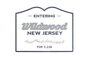 Wildwood, New Jersey - Now Entering (Blue) by Lantern Press