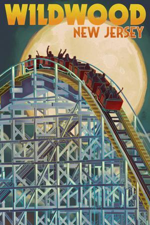 Wildwood, New Jersey - Roller Coaster and Moon by Lantern Press