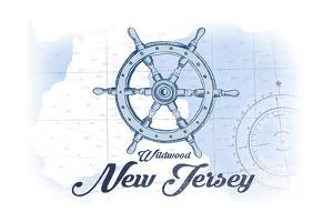 Wildwood, New Jersey - Ship Wheel - Blue - Coastal Icon by Lantern Press